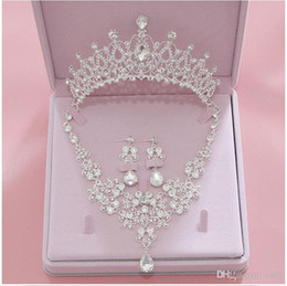 Wholesale Bridal Accessories 2019 Silver Crystal Bridal Jewelry Sets Necklace Earrings Crown Wedding Jewelry Accessories Christmas Gift