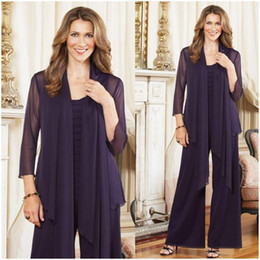 $enCountryForm.capitalKeyWord NZ - Plus Size Mother of the Bride Pant Suits With jacket Purple Chiffon Long Sleeve Bride Mother