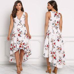 Hi Lo Dress Print Canada - Fashion Women Flora Printed Chiffon V-Collar Sleeveless Long Hi-Lo Dresses White and Black