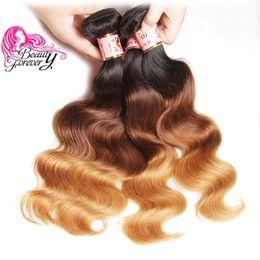 Human Hair 27 Australia - Beauty Forever Brazilian Body Wave Ombre Hair 4 Bundles T1B 4 27 Peruvian Human Hair Top Ombre Weave Wholesale Hair Extension Fashion Bulk