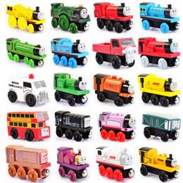 Опт Деревянные небольшие поезда магнитный мультфильм игрушки 48 стилей мешок opp поезда друзей TrainsCar игрушки автобус лучший Рождество Thomas литья под давлением модель детские игрушки