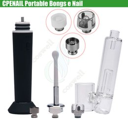 Discount electric wax bong - Authentic CPENAIL 1100mah Portable Wax Pen Dab Rig Nail Ceramic Quartz Electric H Nail GR2 Ti 3type coils e cigs Vaporiz