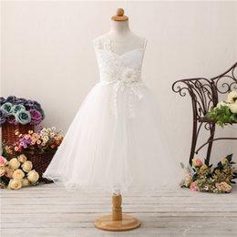 2018 Recién llegado de las muchachas de la flor se viste de longitud té niñas desfile de vestidos de tul suave con apliques florales perlas baratos en venta
