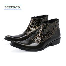 cowboy boots wedding dress 2018 - 2018 Designer Luxury British Genuine Leather Pointed Toe Men Boots Winter Ankle Boots Fashion Cowboy Short Boots Men Ita