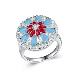 Ruby gemstone foR Rings online shopping - Exquisite Women Ruby Aquamarine Gemstone Cz Flower Ring Silver Filled Engagement Band for Bride Jewelry Factory Size