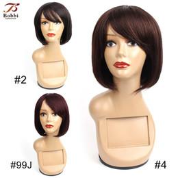 Maquinado Hecho Pelucas de cabello humano Ninguno Encaje 10 pulgadas Corto estilo Bob Recta brasileña Color # 2 # 4 # 99J No Remy Pelucas de cabello humano barato en venta