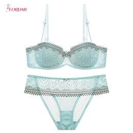 bf074be93ac69 wholesale Women1 2 Cup Push Up Bra and Panties Sets Sexy Lace-trim Plunge  Bra Plus Size Underwear Sexy Lingerie