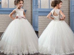 $enCountryForm.capitalKeyWord Australia - White or Ivory Formal Tulle Long Lace Pink Sash Cute Flower Girl Dresses Princess Gown Floor Length Little Kids Party Birthday Dress