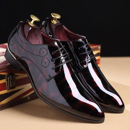 $enCountryForm.capitalKeyWord NZ - Plus Size 48 Pionted Toe Patent Leather Shoes Red Black Dress Wedding Shoes 2018 New Spring Men's Flats Oxfords For Suits Party