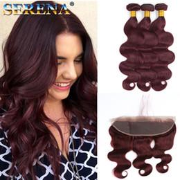 burgundy wavy hair 2019 - 99J Body Wave Hair With 13X4 Lace Frontal Closure Burgundy Brazilian Human Hair Bundles With Ear to Ear Frontal Closure
