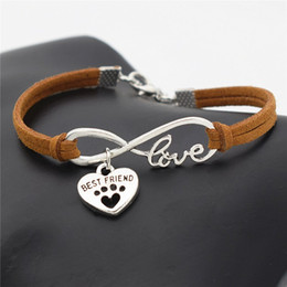 dog chain bracelet Canada - New Men Women Jewelry Vintage Brown Leather Wax Cord Bracelets & Bangles Metal Infinity Love Pets Dog Paw Best Friend Adjustable Accessories