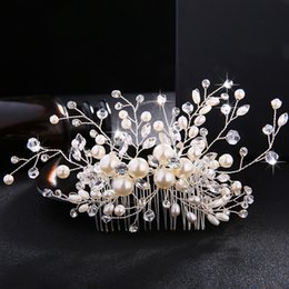 pearl floral wedding hair combs Australia - European Design Floral Wedding Hair Accessories Pearls Austrian Crystal Bridal Hair Combs Wedding Women Hair Jewelry JCH044