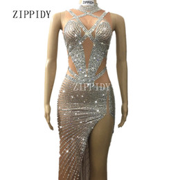 nude women costumes 2019 - Sparkly Crystals Long Dress Women's sexy Evening Party Costume Stage Wear Women Silver Rhinestones Nude Color Celeb