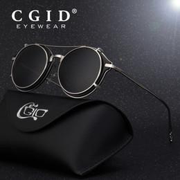 7906a165de CGID 2018 Fashion Men Polarized Sunglasses Round Steampunk Removable Clip  On Shades Brand Designer Sun Glass Vintage Metal E76 C18110601