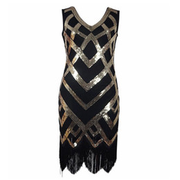 fringed kimono NZ - Sexy Women 1920 s Sequined Embellished Fringed Great Gatsby Flapper Dress Retro Tassels Croche Midi Party Dress Ukraine Vestidos