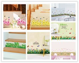 Baseboard Stickers NZ - 3D flowers grass Fences butterfly waist baseboard stickers bedroom living room flowers wall stickers for kids room home decor