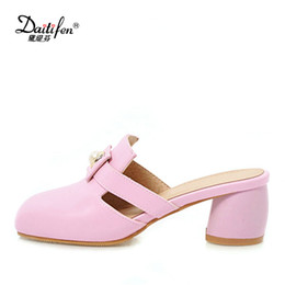 dfd5453d5fa wholesale Fashion Ladies Mules Shoes Square Toe Pumps Shoes Women Pearl  Slip-on High Heels Thick Heel Female s Party Wear Shoes