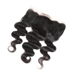Lace Frontal Cheap Bundles UK - Cheap Brazilian Body Wave Lace Frontal Closure Ear To Ear 100% Human Virgin Hair 13x4 Top Closures 10-20inch For Human Hair Weave Bundles