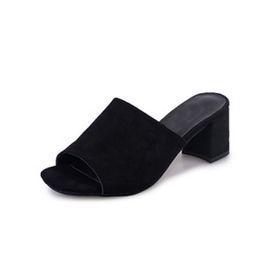 $enCountryForm.capitalKeyWord Australia - Peep Toe Chunky Heel Women Flock Mules Female Casual Comfortable Thick Heels Slippers Woman Shoes 2018 Spring Footwear