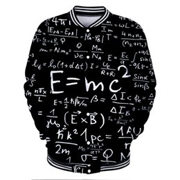 Cool Sweatshirt Jackets Canada - Man E=MC2 3D Harajuku Baseball Jackets Men Women Hot Hip Hop Kpop Streetwear Cool Casual Sweatshirt Hoodies Coats Oversize 4XL