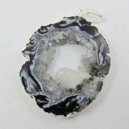 $enCountryForm.capitalKeyWord NZ - Wholesale-BOROSA Brazilian Agates Geode Druzy Slice - Electroplated Silver Color Edged Agates Slice Drusy Druzy Pendant