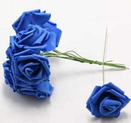 Stem packS online shopping - Wedding pack Royal blue Artificial Bouquet Foam Rose FMarry DIY Crimping Decoration flower Wedding bride lowers with stem Craft