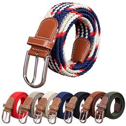 $enCountryForm.capitalKeyWord Canada - Men's Women's Canvas Plain Webbing Metal Buckle knitted belts Woven Stretch Waist leather Belt Strap 60 styles hot sale