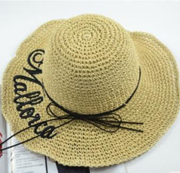 Korean Brands Hats Australia - 2018 Hot Sale Brand New South Korean Version Sunshade Female Beach Hat Handcrafted Bucket Hat Outdoor Hand-made English Alphabet Embroidery