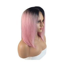 Discount 1b pink human hair - 1b pink dark root Vrigin human hair ombre bob full lace wig and lace front wig 1b pink silky straight Free shipping