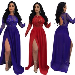 Red Maxi Backless Dress NZ - Sexy Women 2018 Party Dresses Robe Backless Hollow Out Sequins High Split Maxi Dress Autumn Long Bohemian Nightclub Dresses