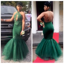Wholesale Dark Green Black Girls Mermaid Prom Dresses Long Halter Lace Appliques Beaded Sexy Backless African Evening Party Gowns Formal Wear