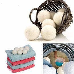 Ingrosso Asciugamani in lana Premium Emulsionante naturale riutilizzabile in tessuto 2.75 pollici statico riduce aiuta a asciugare i vestiti nella lavanderia Più veloce