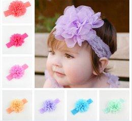 100 pz neonate fasce di pizzo infantile grande fiore chiffon fascia dei capelli copricapo bambini accessori per capelli bambini elastico fasce R079