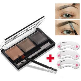 Eyebrow Powder Stencil Australia - 2017 New Eyes Brand Cosmetics Waterproof Pigment 3 Color Eyebrow Powder Palette with Brush Brow Stencil Eyebrow Makeup Set