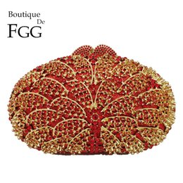 wedding bridal hand bags ladies handbags NZ - Boutique De FGG Hollow Out Red Crystal Women Evening Bags Bridal Handbag Ladies Wedding Purse For Bride Cocktail Party Hand Bag Y18103004