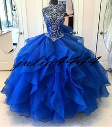 Discount masquerade photos - Royal Blue Quinceanera Dresses 2019 Modest Masquerade Ball Dresses Beads Sweet 16 Princess Pageant Dress For Girls Birth
