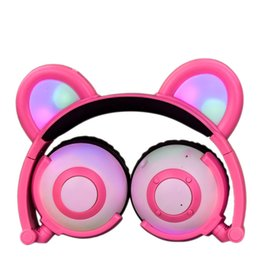 Chinese  Bear Ear Bluetooth Headphones Rechargeable LED Light Up Foldable Over Ear Headphones Headsets for iPad Tablet Kids Wearable Musical Device manufacturers