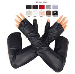 $enCountryForm.capitalKeyWord Australia - custom made 30cm to 80cm long top sheep leather fingerless style no finger long gloves multi colors