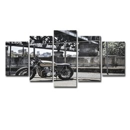 vintage art canvas prints Australia - 6 Modular Canvas HD Prints Posters Wall Art Pictures 5 Pieces Vintage Motorcycle Paintings Home Decor For Living Room Framework