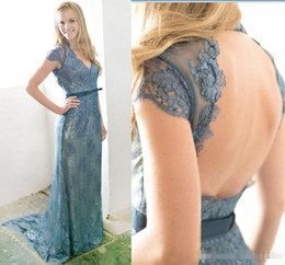 Vintage Back Button Dress NZ - Sexy Key Hole Back 2018 Lace Evening Dresses Dusty Blue Sheath Vintage Full Lace Long Prom Gowns Cap Sleeves Mother Dresses