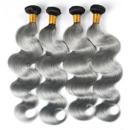 bundles weft hair 2019 - Ishow Hair Brazilian Hair Bundles T1B Grey Ombre Color Body Wave Remy Hair Extensions 4pcs cheap bundles weft hair