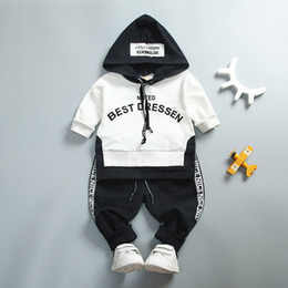 White Suits For Toddlers NZ - Baby Boy Girl Clothing Set High Quality Cotton Kids Toddler Clothes Letter Hooded Suit For Boy Infant Long Sleeve 1-4Years