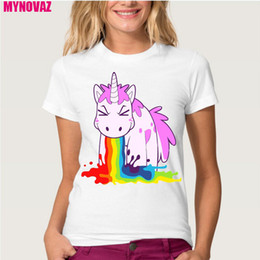 ee96afbe318 Wholesale-Top Unicorn Rainbows T-Shirt Women Summer Printing Animal Novelty  Short Sleeve Shirt Dabbing Unicorn Tops Plus Size Tee Clothes