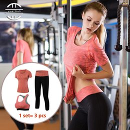 Discount tight sexy yoga pants - YD Professional 3 in 1 Yoga Set Quick Dry Workout Sport Suit Tights Sexy Top Gym Clothes Pant Sports Bra Tracksuit Femal