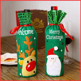 Wrapping Paper Gift Sets Australia - Christmas red wine bottle set elk snow man Santa Claus red wine bag Christmas champagne bottle set decoration