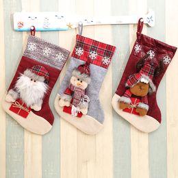 Foot Socks Cartoon NZ - Creative unique Christmas gift socks cute cartoon santa deer Candy socks wholesale christmas decoration socks factory price DHL free