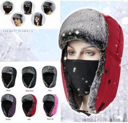 1957b767 Winter Trapper Hats Thicken with Ear Flaps Ushanka Aviator Russian Hat  Winter Outdoor Warm Hat Skiing Sport Windproof cap MMA1096 100pcs