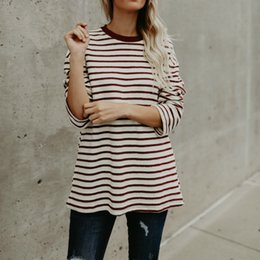 Red Striped T Shirt Wholesale NZ - TTOU Casual Women Red White Striped Long Sleeve T Shirt Cotton Loose Shirt Female Basic O-Neck Tops Tee Autumn