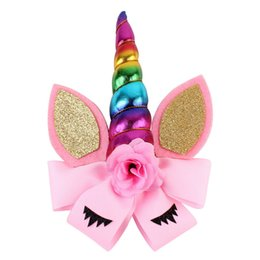 New Assorted colors Unicorn Baby Headbands Jojo Bows Barrettes Headband  with Bows Baby Girl Party Hair Clips Accessories 3d774e24206
