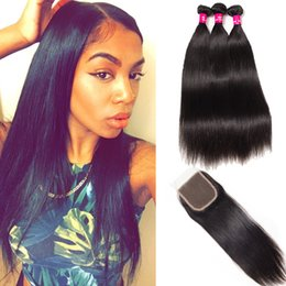 Kinky Closure Parts Australia - 8A Remy Brazilian Body Wave Straight Loose Wave Deep Wave Kinky Curly Hair 3 Bundles With Closure Free Middle 3 Part Human Hair Extensions